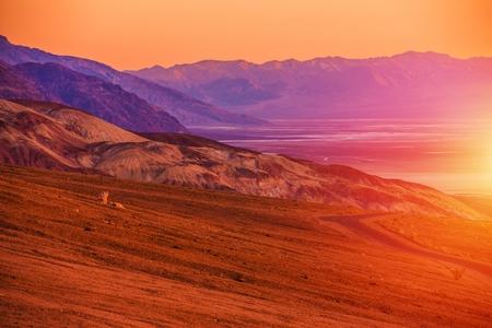 destination scenics: Sunset Scenery of Death Valley. California, United States.