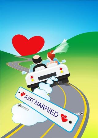 Ilustración cómica del viaje de luna de miel. Just Married Couples en el viaje por carretera.