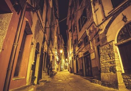Streets of Portovenere in Italian Riviera. Medieval Narrow Street of Porto Venere at Night. 版權商用圖片 - 76732231