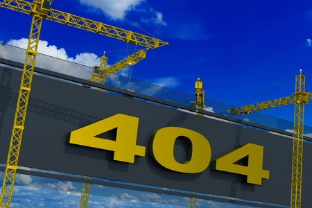 Error 404 Not Found Construction Site 3D Rendered Concept