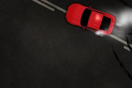 자동차 타이어 Burnout 3D 그림 복사본 공간입니다. 빠른 자동차 아스팔트 배경에 표류. 자동차 개념입니다. 스톡 콘텐츠