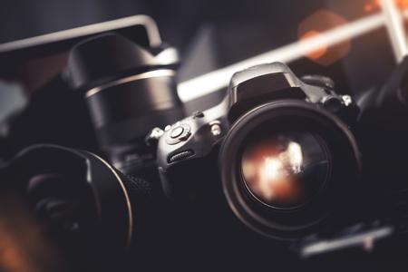 Professional Digital Photo Gear. Pro Digital Interchangeable Lenses Camera. Photographers Equipment. 写真素材