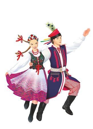 Dansende Krakowiacy Isolated op Witte Illustratie. Subetnische groep van de Poolse natie. Volksdansers.