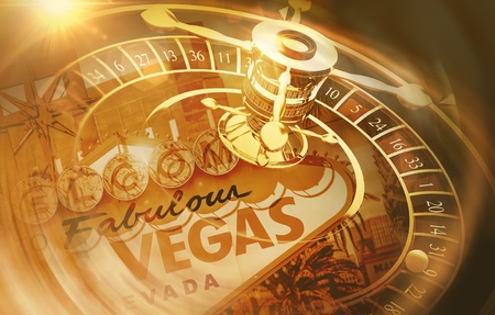 Vegas Roulette Spin Concept 3D Rendered Illustration. Golden Sepia Color Grading. Las Vegas Gambling Conceptual Background. Stock Photo