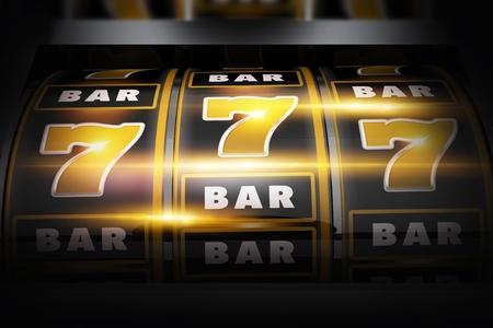 Vegas Slot Winner 3D Concept Illustration. Classic Las Vegas Style Slot Machine Closeup. Golden Black Theme. Banque d'images