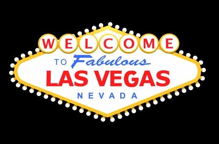 Las Vegas teken geïsoleerd op effen zwart. 3D-gerenderde afbeelding.