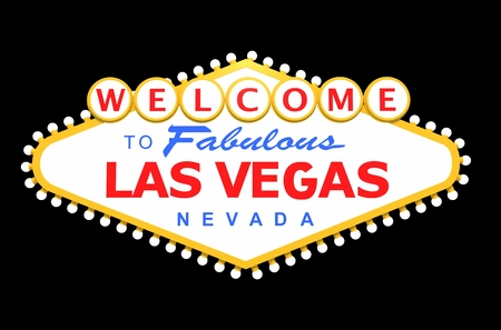 Las Vegas Zeichen isoliert auf Solid Black. 3D Rendered Illustration. Standard-Bild - 78073453