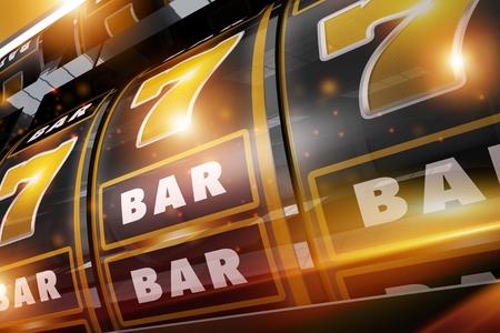 Golden Black Gold Rush Casino Slots Gambling Machine Closeup. 3D Rendered Illustration. Las Vegas Style Slot.