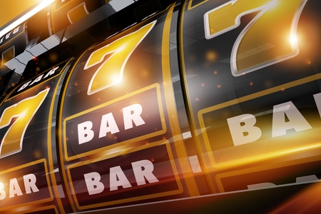 Golden Black Gold Rush Casino Slots Gambling Machine Closeup. 3D Rendered Illustration. Las Vegas Style Slot. 版權商用圖片 - 78075792