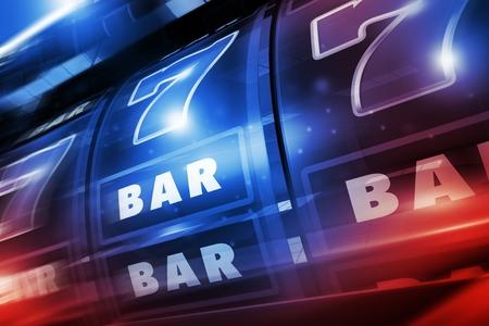 Rougeoyant bleu et rouge illuminé Casino Slot Machine 3D Concept Illustration de fond. Las Vegas Style Slots. Banque d'images - 78107469