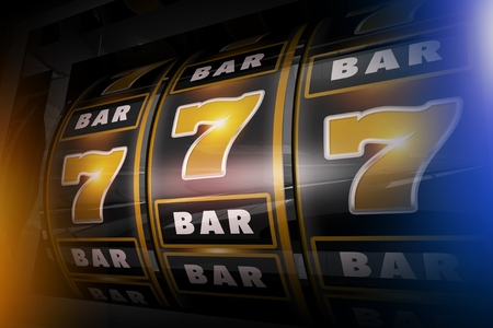 Slot Machine Concept 3D Illustration. Golden Sevens and Bars Black Vegas Style Slots.