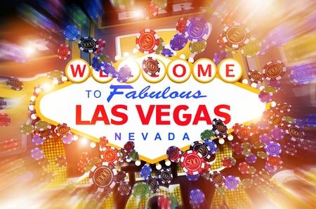 ラスベガスのカジノ ギャンブルの概念 3 D イラスト。有名なラスベガス ストリップ エントランス サインとカラフルなギャンブルのコンセプトです