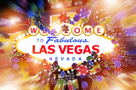 Las Vegas Casino Gambling Concept 3D Illustration. Colorful Gambling Concept with Famous Vegas Strip Entrance Sign.