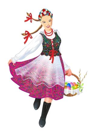 Krakowiak Folk Dancer avec illustration de panier de Pâques isolé sur blanc. Culture subethnique polonaise. Banque d'images - 78332499