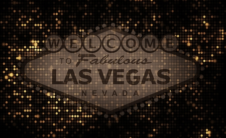vegas strip: Dark Browny Golden Las Vegas Strip Sign Background Illustration.