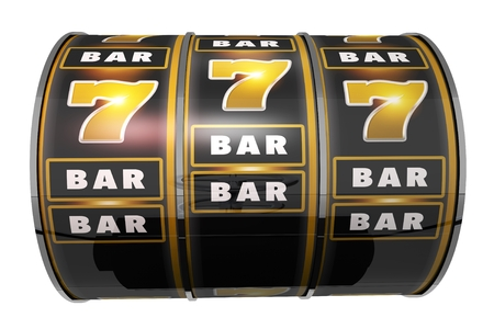 Casino Slot Machine Drum Isolated on Solid White Background. 3D Render Illustration.