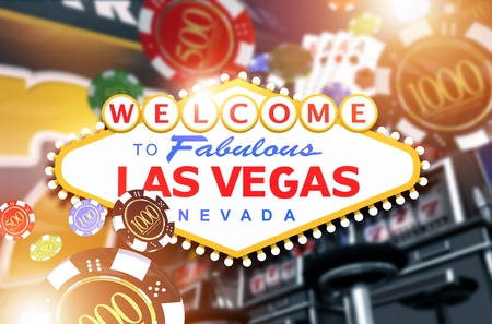 vegas strip: Welcome in Las Vegas Concept 3D Rendered Illustration. Vegas Fun and Gambling.