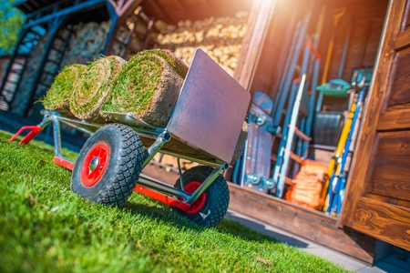 paysagiste: Grass Turfs on a Cart Ready To Move For Installation. Rolled Garden Natural Grass Banque d'images