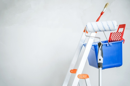 paint tool: Room Painting Equipment. Ladder, Painting Brush and Roller.