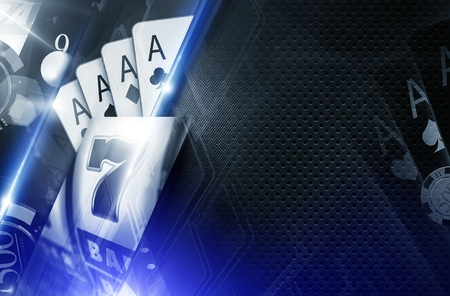 vegas strip: Casino Copy Space Background 3D Concept Illustration. Casino Games Backdrop in Glowing Blue Colors.