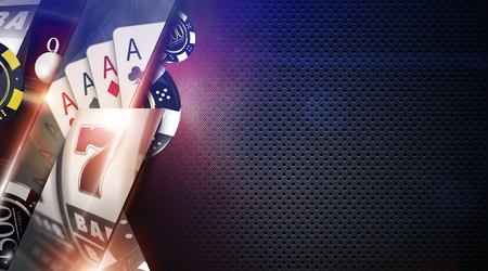 vegas strip: Casino Games Background Illustration with 3D Rendered Elements. Casino Gambling Backdrop with Copy Space. Stock Photo