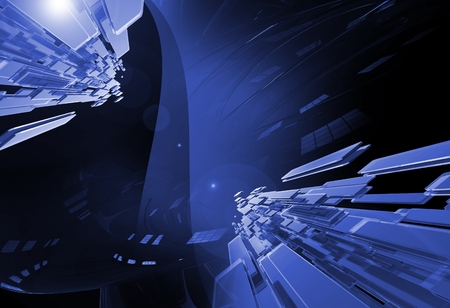 3D Rendered Glassy Abstract Background. Dark Blue Abstraction.