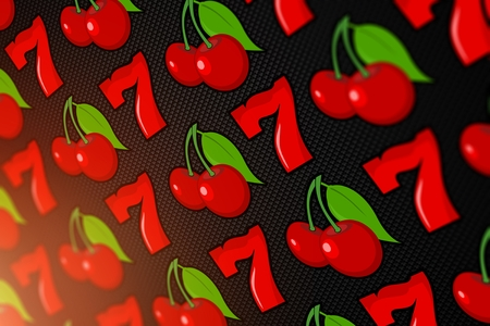 2d: Lucky Slot Sevens and Cherries. Casino Concept 2D Background Illustration. Stock Photo