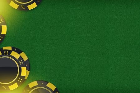 カジノのゲームのコピー スペース。チップをカジノのルーレットやポーカーのグリーンの布素材。3 D レンダリングの背景イラストです。 写真素材