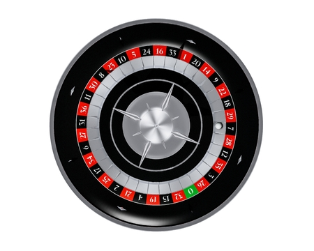 3D Rendered Roulette Wheel Top View Isolated on White Solid Background.