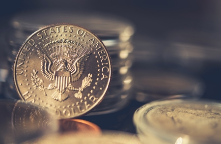 Collectible Half Dollar Coin Closeup Photo. Collecting Coins.