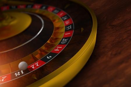wheel of fortune: Elegant Roulette Wheel Closeup 3D Rendered Illustration. Roulette on the Dark Wooden Table.