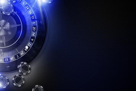 El concepto azul 3D del juego de la ruleta que brilla intensamente rindió la ilustración del fondo. Casino Roulette Wheel y Chips Copy Space. Foto de archivo - 80224962
