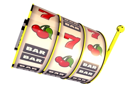 Isolated on Solid White Fruit Machine Drums. 3D Rendered illustration. Casino Slot Machine