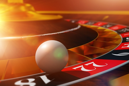 chances are: Roulette Ball Wheel Play. 3D Render Illustration with Roulette and the Ball in Extreme Closeup.