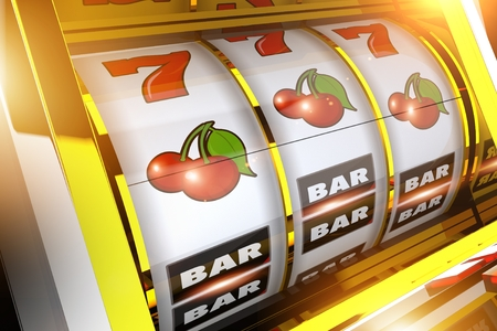 黄金の果実のスロット マシンの概念 3 D レンダリングの図。カジノ スロット ゲーム。