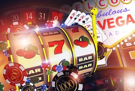 ラスベガスのカジノのゲームのコンセプト。ラスベガスのエンターテインメントの概念 3 D レンダリングの図。 写真素材