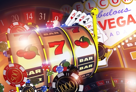 Vegas Casino Games Concept. Las Vegas Entertainment Conceptual 3D Render Illustration.