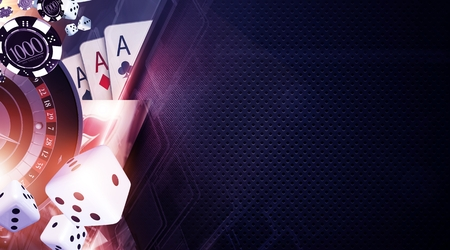 Vegas Games Background. Casino Gambling Banner Backdrop Concept. Zdjęcie Seryjne - 80099917