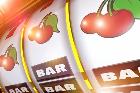 Shiny Golden Slot Machine 3D Rendered Illustration. Lucky Cherries Casino Game Play.