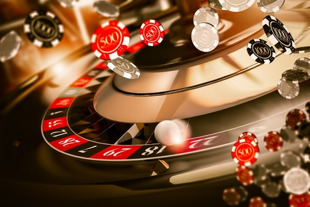 Roulette Spin Casino Chips Blow Concept 3D Rendered Illustration. Casino Gambling. Stock Photo
