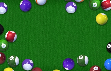 game of pool: Biliard Table 3D Rendered Illustration Background. Billiard Game Copy Space Concept. Stock Photo