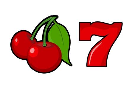 Lucky Slot Machine Cherry en Zeven Populaire Symbolen Geïsoleerd op Solid Witte Achtergrond.