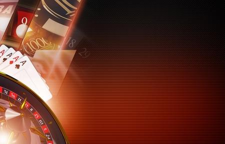 カジノのゲームの背景概念。3 D は、ルーレット、スロット機、チップ、右側にあるコピー スペースとポーカーのカードに表示されます。黒と赤の色 写真素材