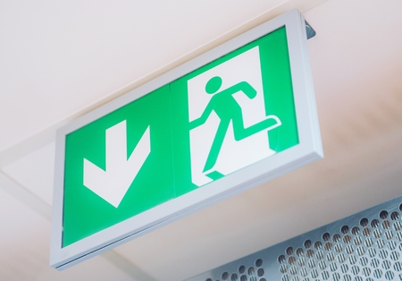 Evacuation Exit Interior Sign. Building and Interiors Safety Signs.