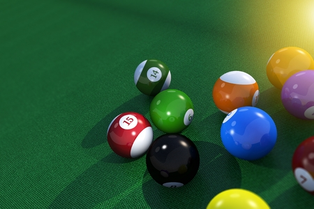 Billard Pool Balls on the Green Cloth material Table 3D Rendered Illustration.