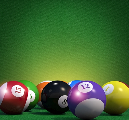 numbers background: Billiard Game Copy Space Background. Pool Billiard Cue Sport Backdrop 3D Rendered Illustration.
