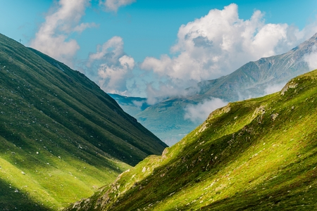 Scenic Mountains Formation in the Swiss Alps. Great St Bernard Pass, Switzerland.