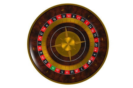 Isolated on Solid White 3D Roulette Wheel Illustration. Top View.