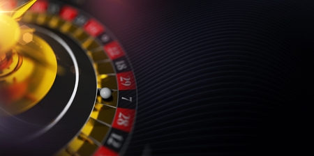 Cool Casino Roulette Banner with 3D Roulette Wheel Illustration. Фото со стока