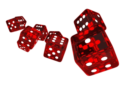 sic: Crystal Red Casino Dices 3D Render Illustration. Red Glassy Dices Isolated on Solid White Background. Stock Photo